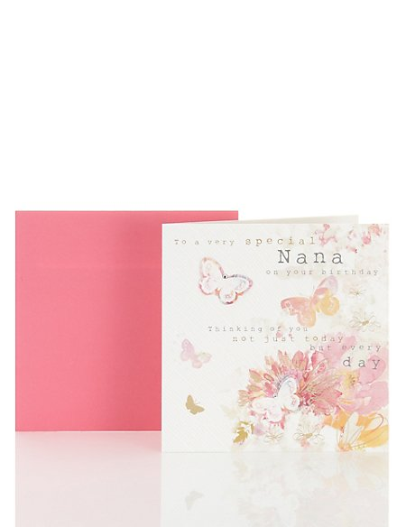 Floral Butterfly Nana Birthday Card