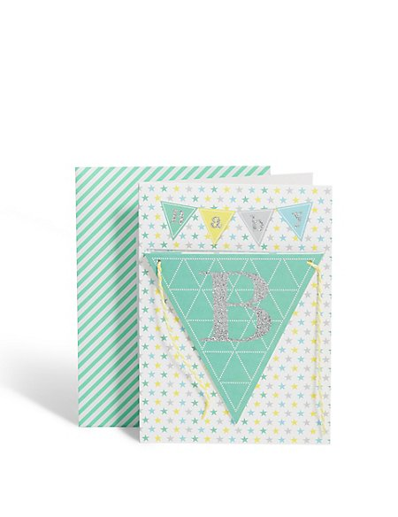 New Baby Boy Bunting Card