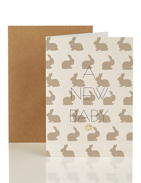 A New Baby Card Covered with Bunnies