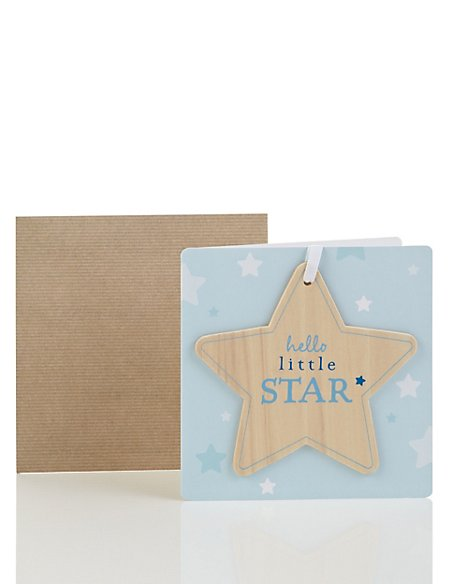 Wooden Star Birth of Baby Boy Card