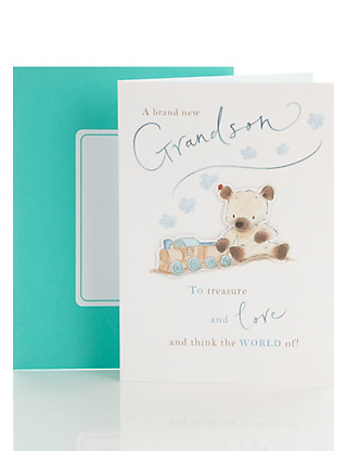 Bear and Bird Birth of Grandson Card Home