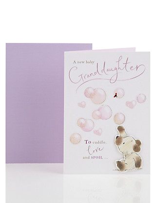 Bear and Bird Birth of Granddaughter Card Home