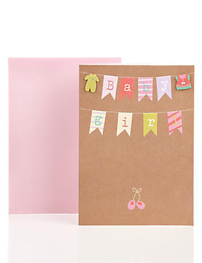 Bunting Baby Girl Greetings Card