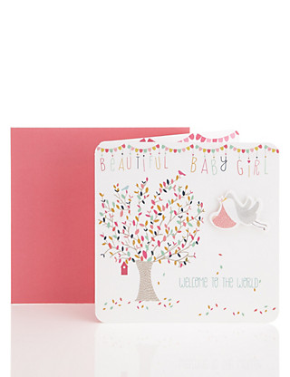 Flying Stork Baby Girl Greetings Card Home