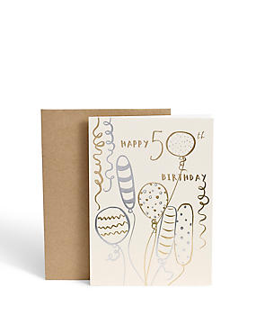 50th Birthday Gold & Silver Balloons Birthday Card