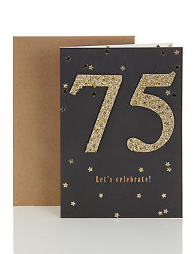 Gold Glitter 75th Birthday Card