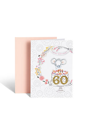 60th Birthday Illustrated Mouse Card