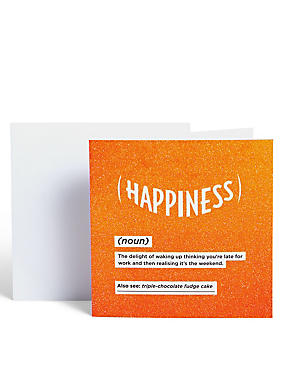 Happy Dictionary Definition Card