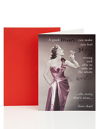 Drinking Wine Birthday Greetings Card Home
