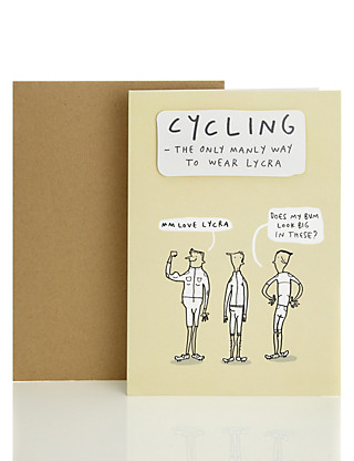 Humorous Cycling Blank Card Home