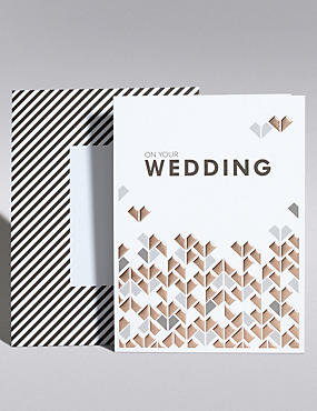 Copper Geometric Hearts Wedding Card