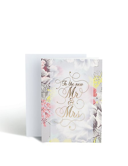 Floral Mr & Mrs Wedding Card