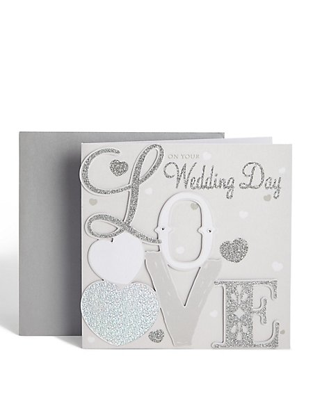 Silver Glitter Love Wedding Card