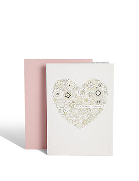 Glitter Heart Wedding Card