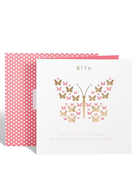 Wife Anniversary Butterfly Card