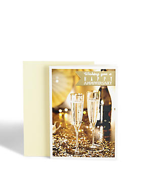 Photographic Champagne Anniversary Card