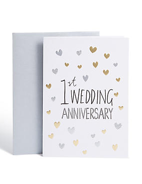 First Anniversary Hearts Card