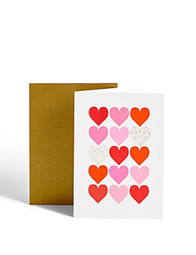 Pink & Red Hearts Anniversary Card