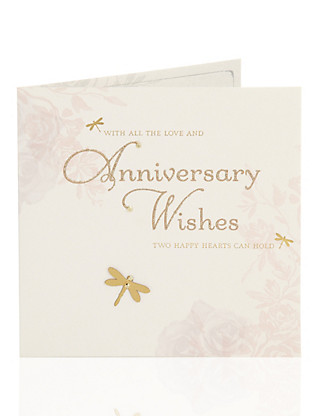 Gold Dragonfly Anniversary Card Home