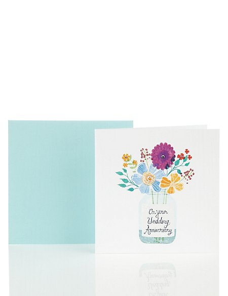 Flower Jar Anniversary Card