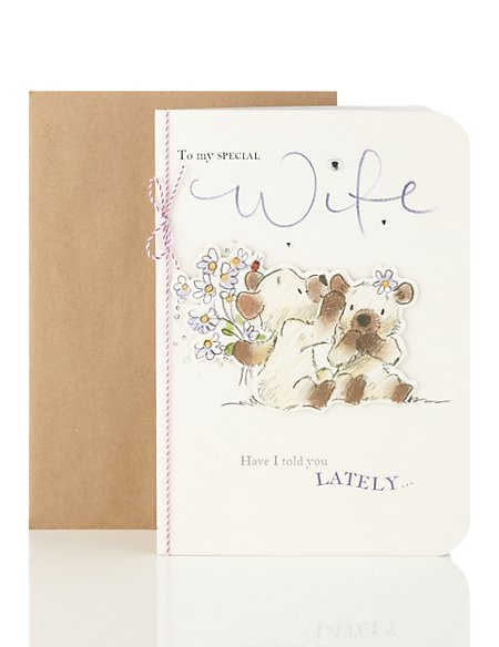 Cute Bear's Anniversary Card for a Special Wife
