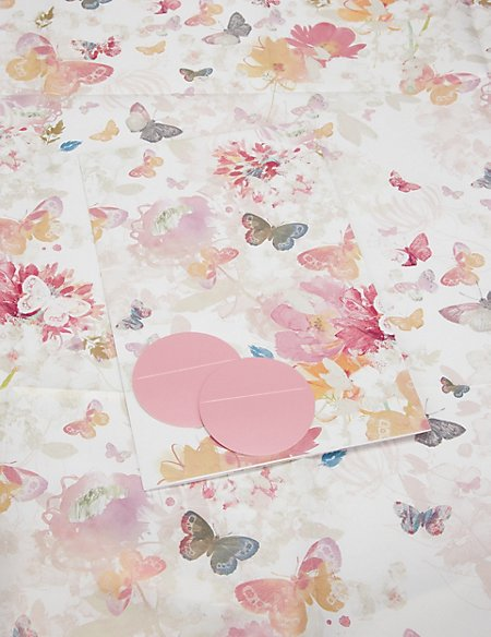 2 Flowers & Butterflies Wrapping Paper
