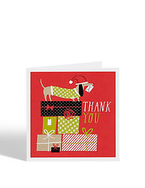 Sausage Dog Christmas Thank You Cards - Pack of 8