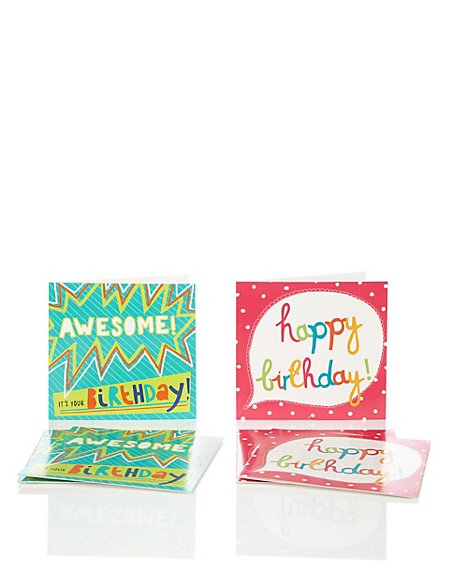 6 Bright Text Multipack Birthday Cards