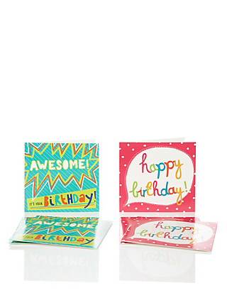 6 Bright Text Multipack Birthday Cards Home