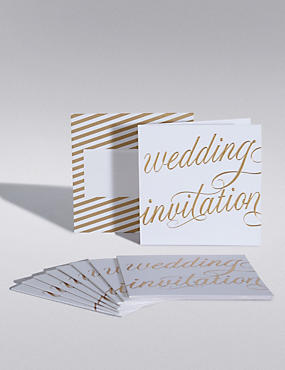 Gold Calligraphy Wedding Invitations