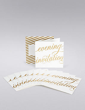 Gold Calligraphy Wedding Evening Invitations