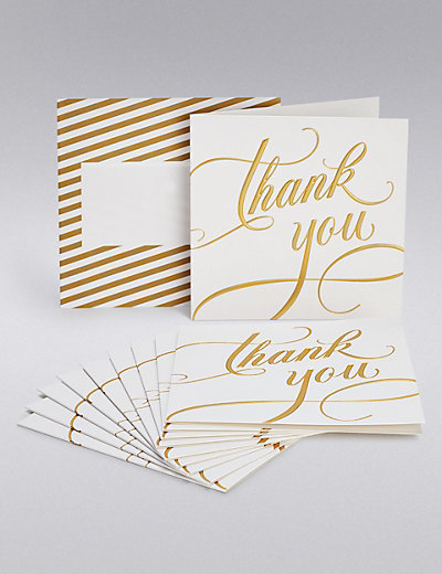 Gold Calligraphy Wedding Thank You Cards M S