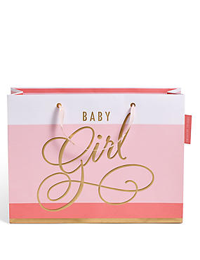 Pink Striped Baby Girl Large Gift Bag