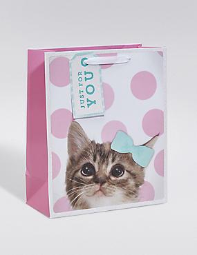 Cute Kitten Pink Spotted Medium Gift Bag