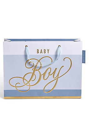 Blue Striped Baby Boy Large Gift Bag