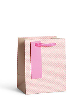 Neon Pink Striped Small Gift Bag