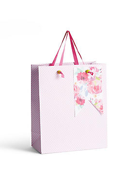 Floral & Candy Stripe Medium Gift Bag