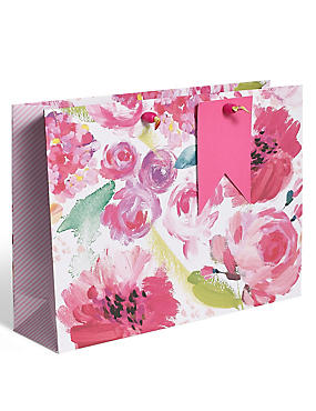 Painted Floral Large Gift Bag, , catlanding