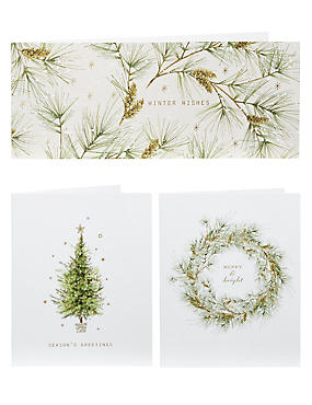 Tree, Spruce and Wreath Christmas Cards - Pack of 20