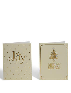Gold Joy Christmas Charity Cards - Pack of 20