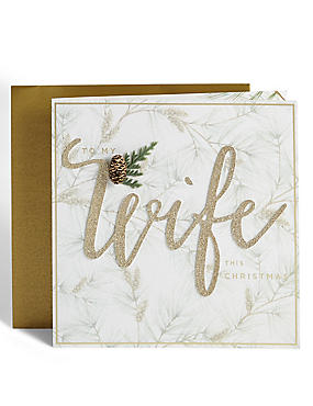 Wife Winter Foliage Christmas Card
