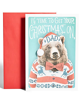 Dad Bear in Hat Christmas Card