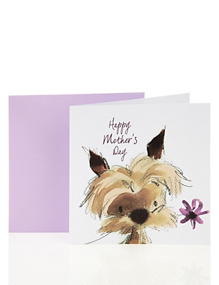 Illustrated Puppy Mother's Day Card Home