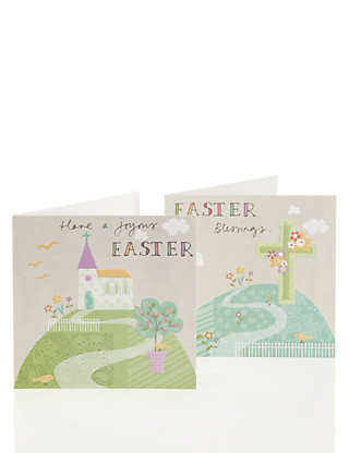 Pastel Church Scene Multipack Easter Cards Home