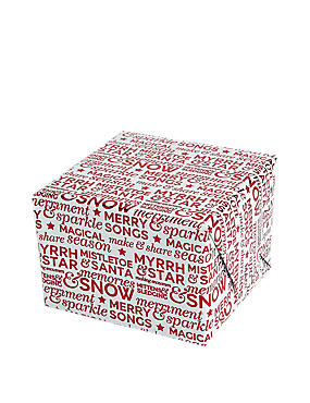 Joyeux Noel Red Foil Text 3m Christmas Wrapping Paper