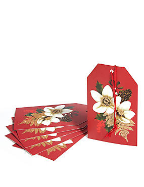 Festive Opulence 6 Floral Glitter Gift Tags