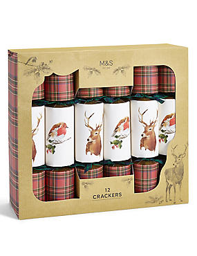Joyeux Noel Illustrated Deer & Robin Tartan Christmas Crackers