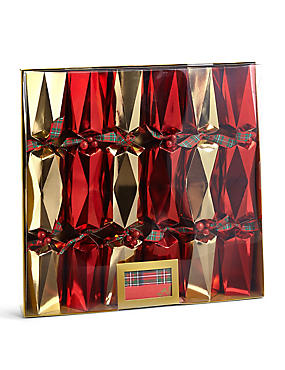 Joyeux Noel Red & Gold Multi-Faceted Christmas Crackers