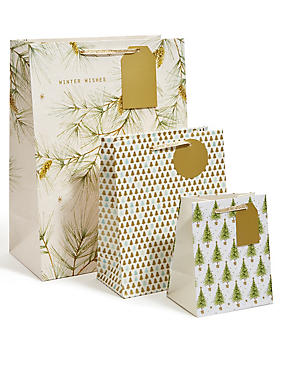 Spruce Set of 3 Gold Foliage Gift Bags