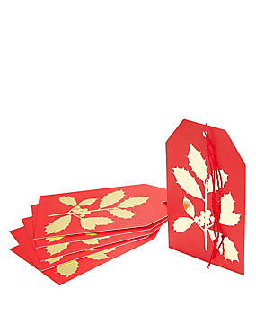 Joyeux Noel 6 Red & Gold Holly Gift Tags